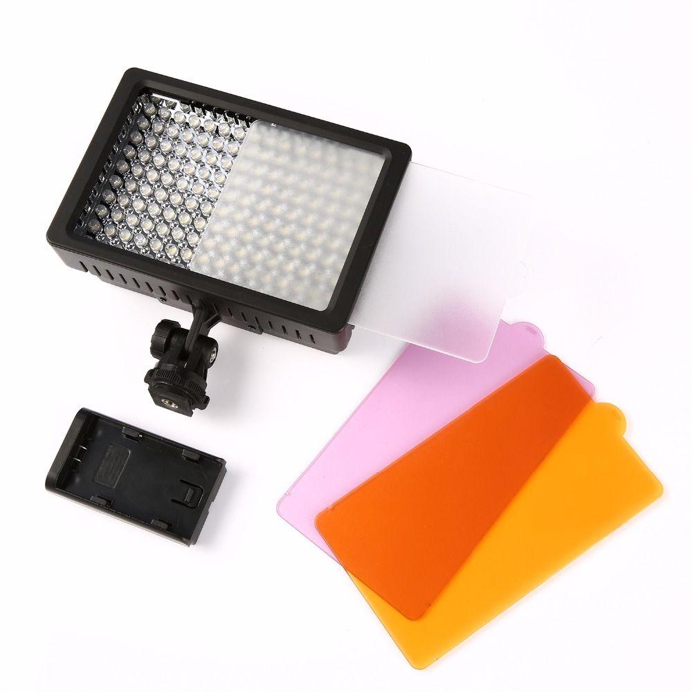 160 LED Video Light Lamp 1280LM 5600K/3200K <font><b>Dimmable</b></font> for Canon Nikon DSLR Camera Photographic Lighting