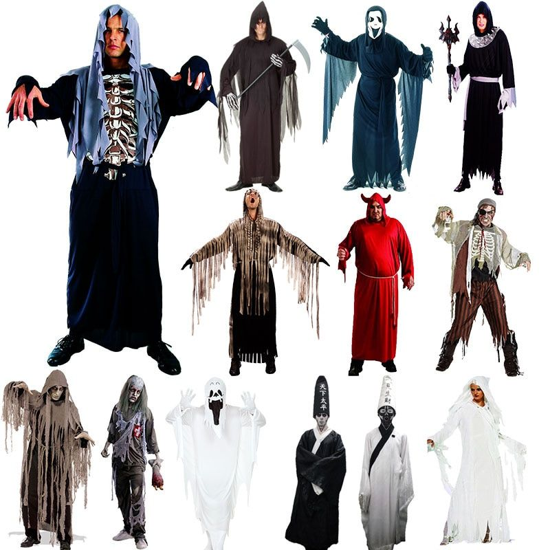 Adults Men Devil Vampire Ghost Grim Reaper Cosplay Costume Stage Performance Costumes Party Purim Halloween Christmas