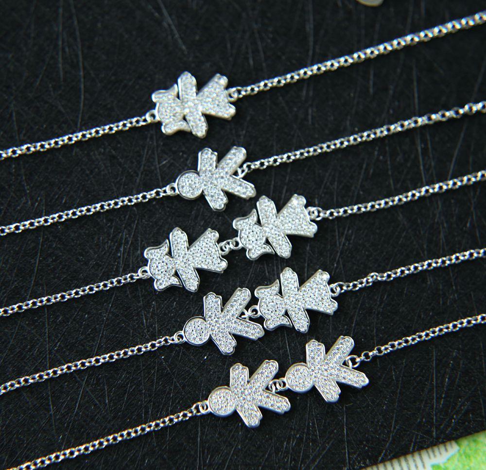 Authentique 925 argent Sterling garçon et fille charmes lien lien Bracelet pour femmes russie réglable Bracelet en gros