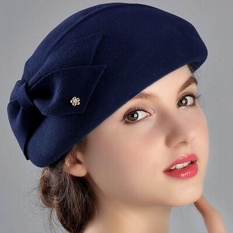 100% Wool Women Fashion Fedoras Lady Elegant British Style Double Flower Beret Hats Painter Cap for Spring Fall Winter Season M1