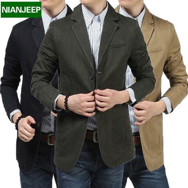 100% Natural de Algodón Chaqueta de Los Hombres Slim Fit Original Marca NianJeep nuevo 2015 la Primavera y El Otoño Casual Chaqueta Para Hombre de Tamaño 4xl Blazers