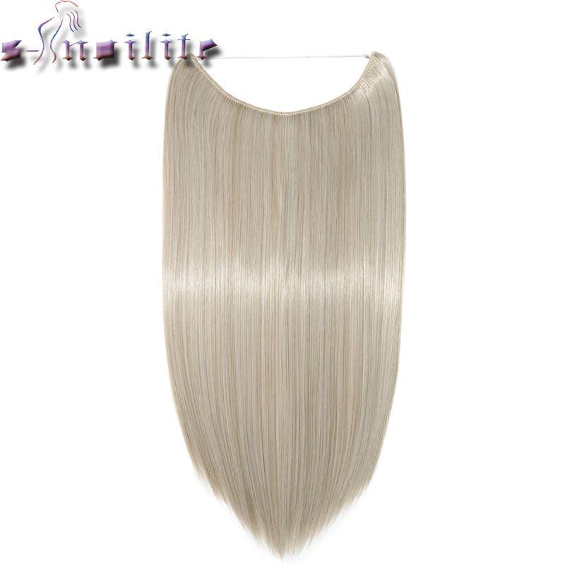 С-noilite длинные коричневые светлые серый высокое Температура Волокно Синтетические волосы рыба линия Невидимый прямой Наращивание волос ши...
