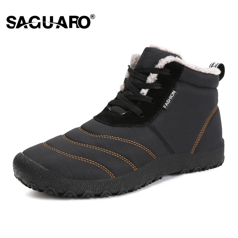 SAGUARO Super Warm Men Winter Boots for Men Warm Waterproof Rain Boots Shoes 2018 New Men's Ankle Snow Boot Botas Masculina