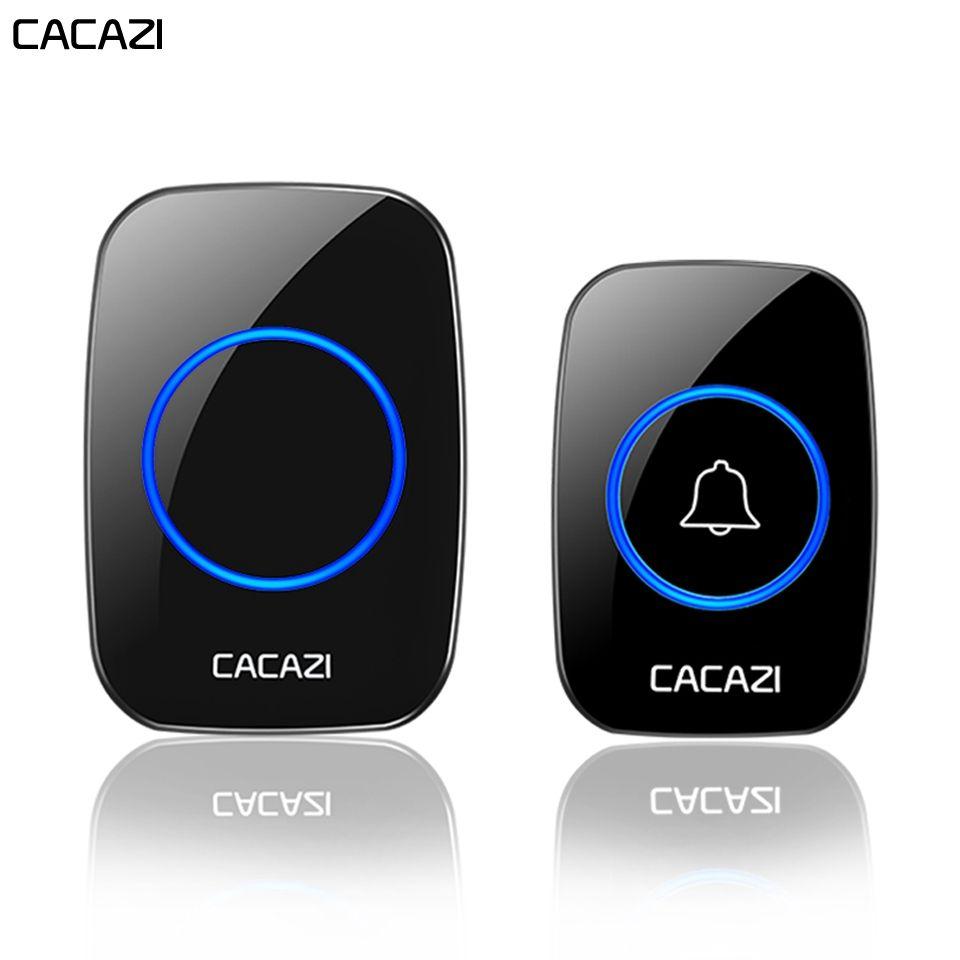 CACAZI sans fil étanche sonnette 1 bouton 2 récepteur 300 M télécommande intelligente sans fil maison porte cloche 60 carillon US EU UK Plug