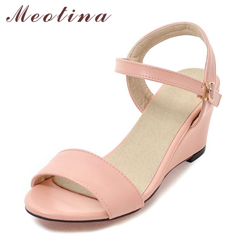 Meotina chaussures femmes sandales d'été sandales compensées pour femme décontracté boucle dames chaussures bout ouvert talons hauts rose blanc noir 34-43