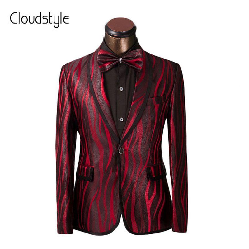 Luxury Men Suit Unique Red Zebra Pattern One Button Suit Jacket Slim Fit Prom Suits Tuxedo Brand Wedding Party Blazer Jacket