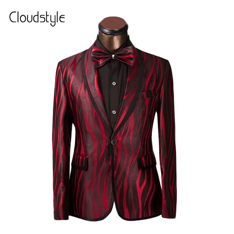Luxury Men Suit Unique Red Zebra Pattern One Button Suit Jacket Slim Fit Prom Suits Tuxedo Brand Wedding Party Blazer Jacket