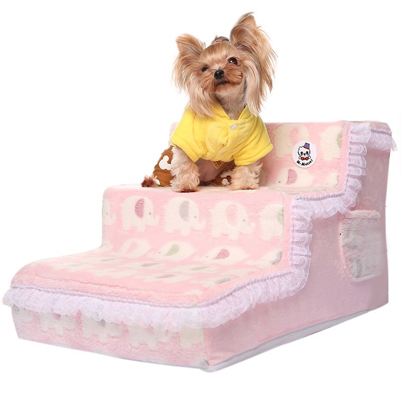 Dog Stairs Beds Removable Dog House Lace Pattern Pet Bed Stairs Plush Cover Puppy Stairs Pet Products 65*40*35cm