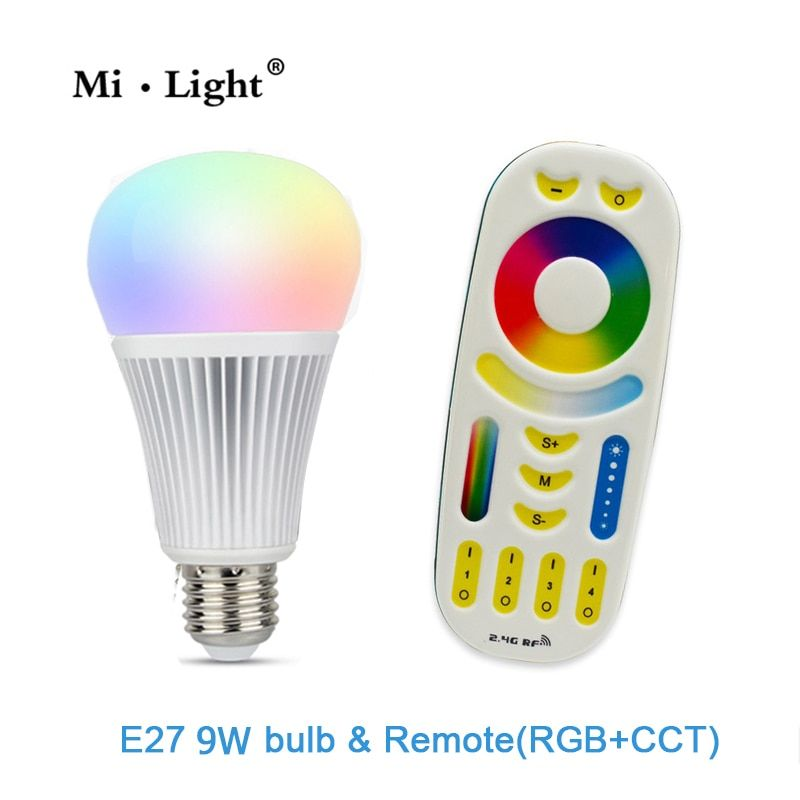 AC85-265V 2.4G Wireless E27 9W RGBWW+ Color Temperature Dimmable 2 in 1 Smart MiLight LED Bulb RGB and CCT