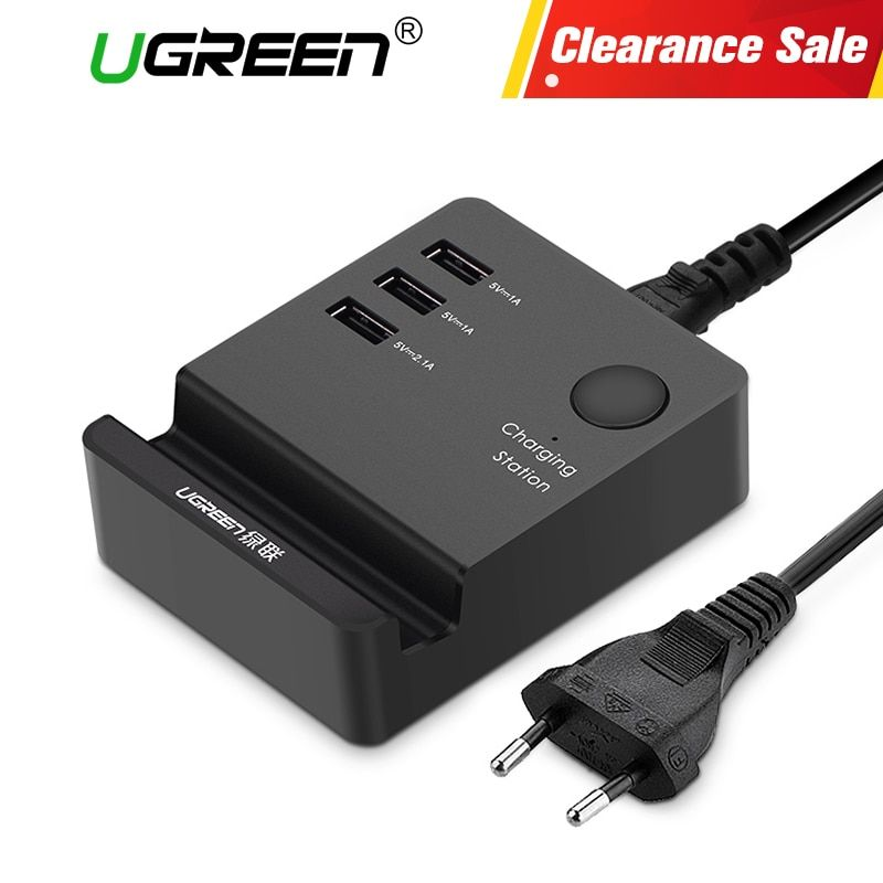 Ugreen 3 Ports phone charger Desktop USB Charger Portable Tarvel EU Plug Wall Charger Adapter for iPhone 6 <font><b>Mobile</b></font> laptop Charger