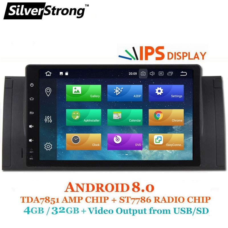SilverStrong Android8.0 IPS 4GB+32GB 1DIN Car DVD For BMW E39 X5 E53 M5 Android Autoradio with 2G+16G option
