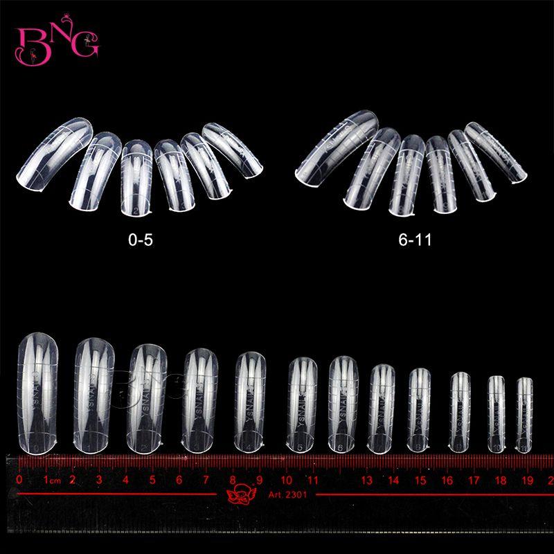 BNG 312pcs/set Dual Nail Form 0-11sizes French False Nail Tips System UV GEL Acrylic DIY Nail Art Mold Tips Manicure