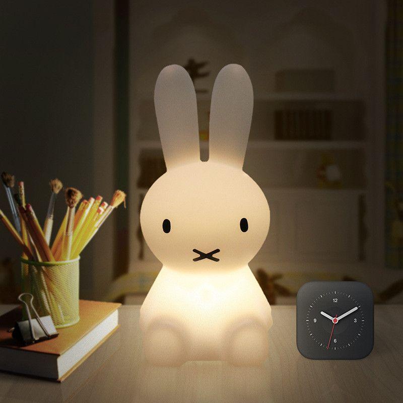 28cm rabbit Ins Hot Miffy Rabbit Children multicoloured Bed Table Lamp LED Night Light USB Rechargeable Kids Gift Night Light