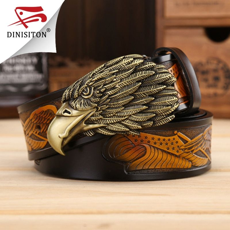 DINISITON Eagle head man belt The First <font><b>Layer</b></font> Genuine Leather Men belts Brand Cowskin Fashion Vintage Male Strap Ceinture ZPB01