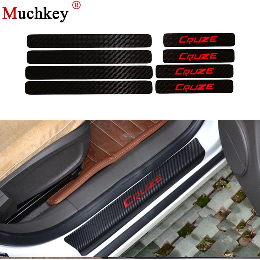 Pour Chevrolet Cruze voiture Stying seuil de porte seuil plaque bienvenue pédale seuil protéger autocollants 8 pièces Fiber de carbone Vnyl