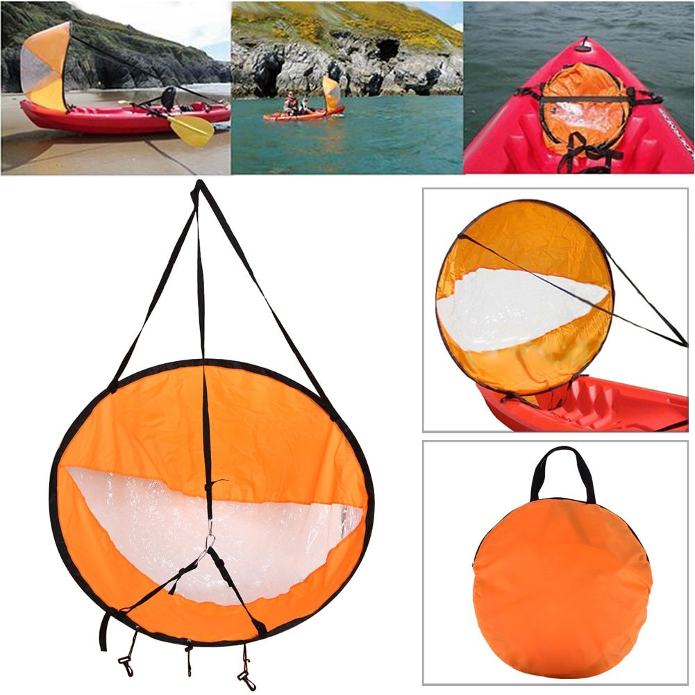 42.5/108cm Kayak Boat Wind Sail Canoe Sup Paddle Board Sail with Clear Window Fishing Rowing Boat Inflatable <font><b>Outboard</b></font> Drifting