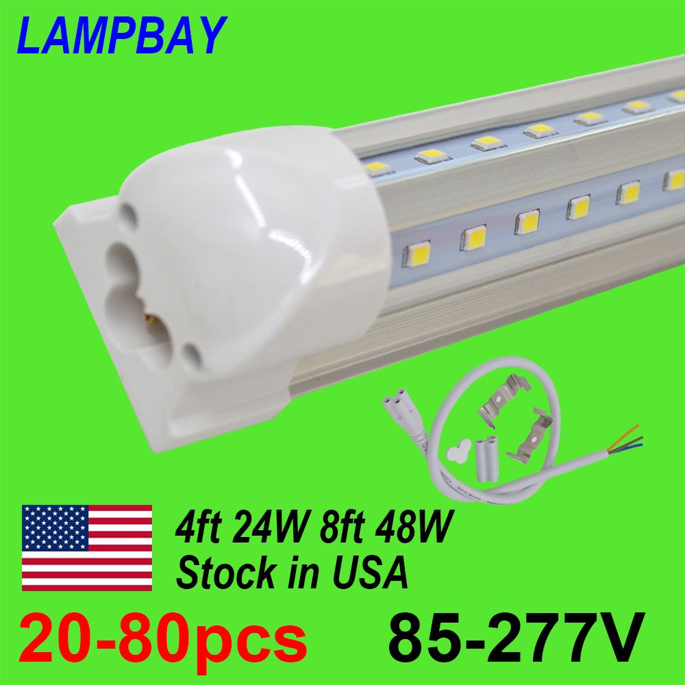 20-80pcs LED Tube Lights 4ft 8ft V Shaped Bar Lighting T8 Integrated Bulb Fixture Super Bright Daylight Shop Cooler Lamp