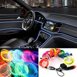 2 m/3 m/5 m Auto 12 V LED Kalte lichter Flexible Neon EL Draht Auto Lampen auf Auto Kalten Licht Streifen Linie Innen Dekoration Streifen lampen