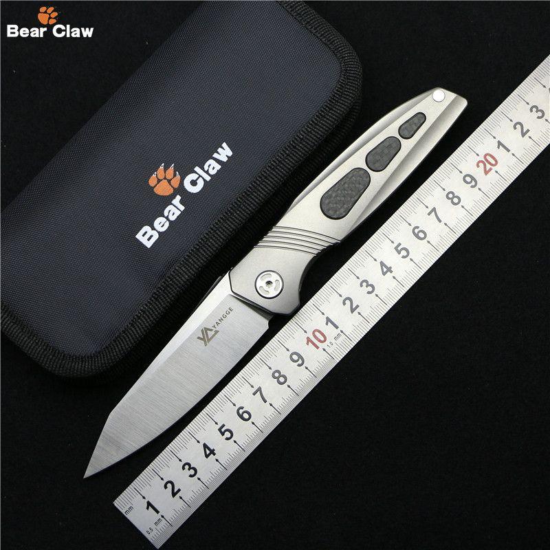 Bear claw yange sonne original Flipper klappmesser Titan CF griff M390 blade freienjagd-kampierende taschenmesser EDC werkzeuge