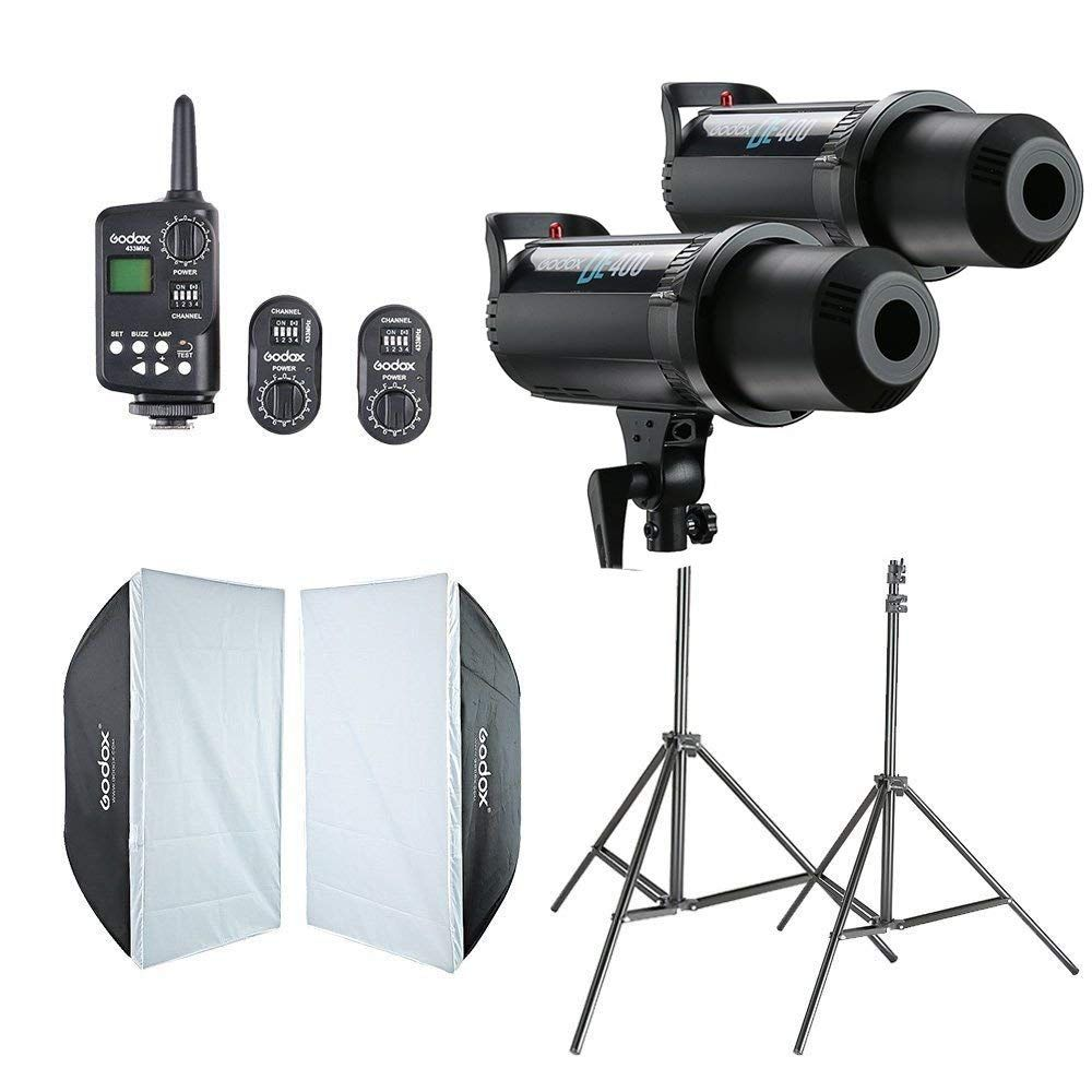 2x Godox DE400 Studio Flash + 60x90 cm Softbox + FT-16 Trigger + Licht Stand Kit CD50