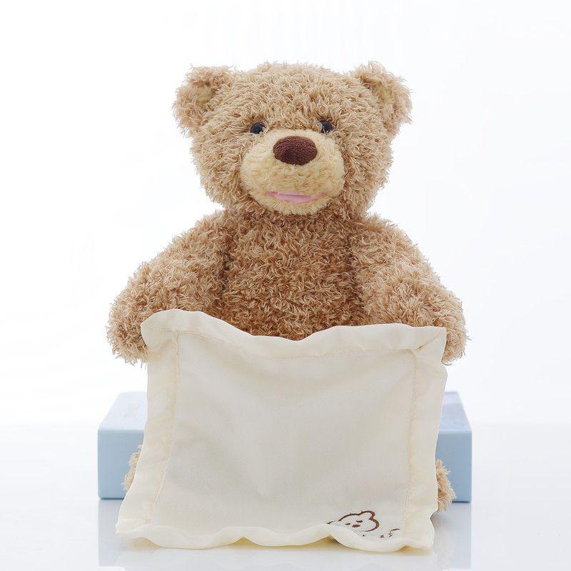 Peek a Boo Teddy Bear Plush Animal Toy Play Hide and Seek Stuffed Toy Music Bear Doll Kids Baby Christmas Birthday Gift 30cm