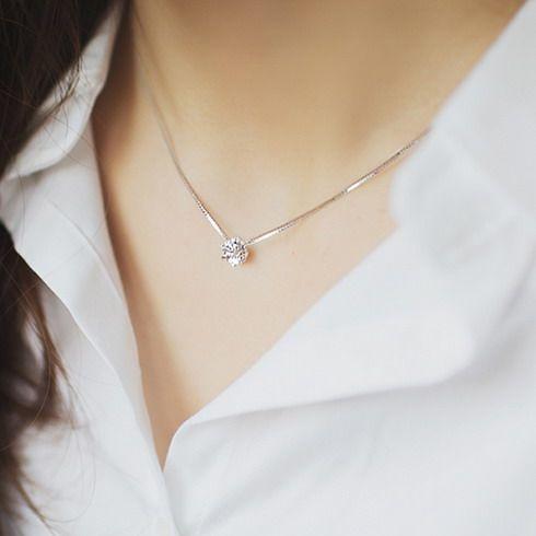 Exquis strass chaîne unique zircon 925 pur argent collier femme accessoires de mode bijoux en argent
