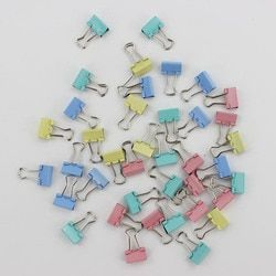 60 unids/lote 15mm carpeta colorida del metal Clips clip Oficina Artículos de encuadernación