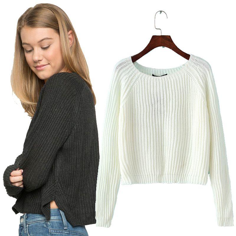Осень зима новый 2017 урожай свитер случайные сексуальные женщины свитера и пуловеры вязаные свитера короткие основные твердые тонкий потян...