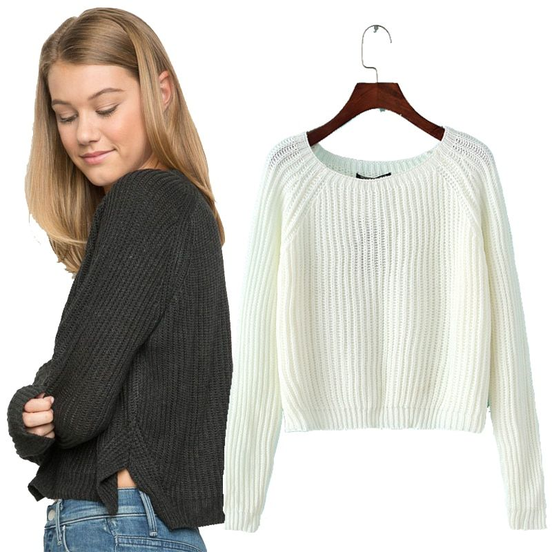 Autumn winter new 2018 crop sweater casual sexy women sweaters and pullovers knitted jumpers short basic solid slim pull <font><b>femme</b></font>
