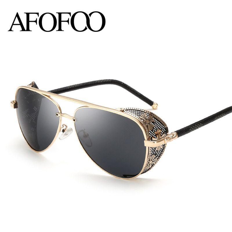 AFOFOO Nueva Moda Gótica Steam Punk Gafas de Diseñador de la Marca de La Vendimia Verano de Las Mujeres de Los Hombres de Steampunk gafas de Sol gafas de sol