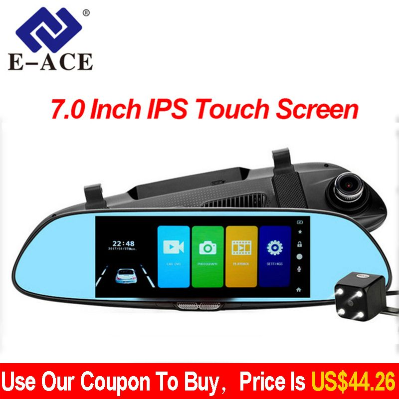 E-ACE Car DVR Full HD 1080P 7.0 Inch IPS Touch Screen Recorder Dual Lens with Rear View Mirror Auto Registrator Dash Camera