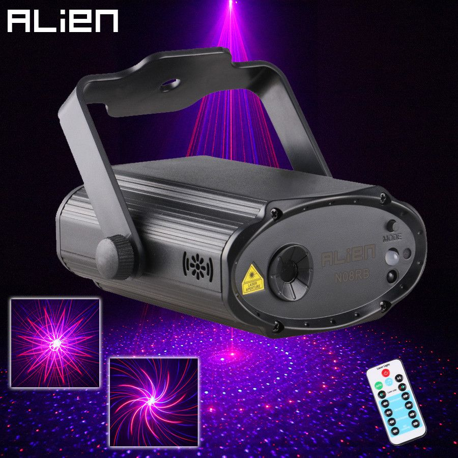ALIEN Mini 8 Red Blue Patterns Laser Stage Lighting Projector Effect DJ Disco Party Club Birthday Laser Decoration Soundlights
