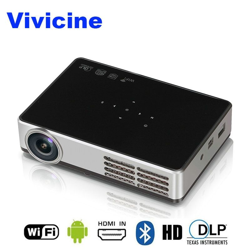 VIVICINE Newest 1280x800 Portable 3D Android 1080p Projector,DLP HDMI USB PC WIFI Wireless Home Theater Mini Video Projector