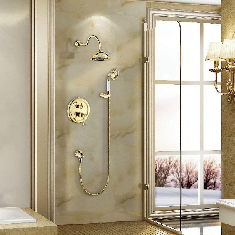 Livraison gratuite becola salle de bain robinet de douche dissimulé de haute qualité or et chrome ensemble de douche mural B-2201