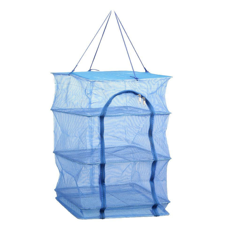 Foldable 4Layers 40 x 40 x 65cm Drying Fish Net Durable Drying Rack <font><b>Hanging</b></font> Vegetable Fish Dishes Dryer Fish Cathing Net