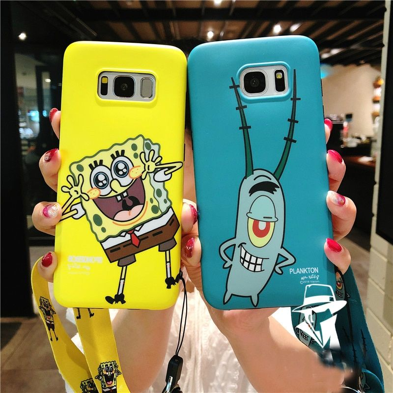 SAM S9 plus Cartoon Case, Cute SpongeBob Soft back phone cover for Samsung Galaxy S9 S8 S8plus S7edge Note8 Mr.Krabs cover+strap