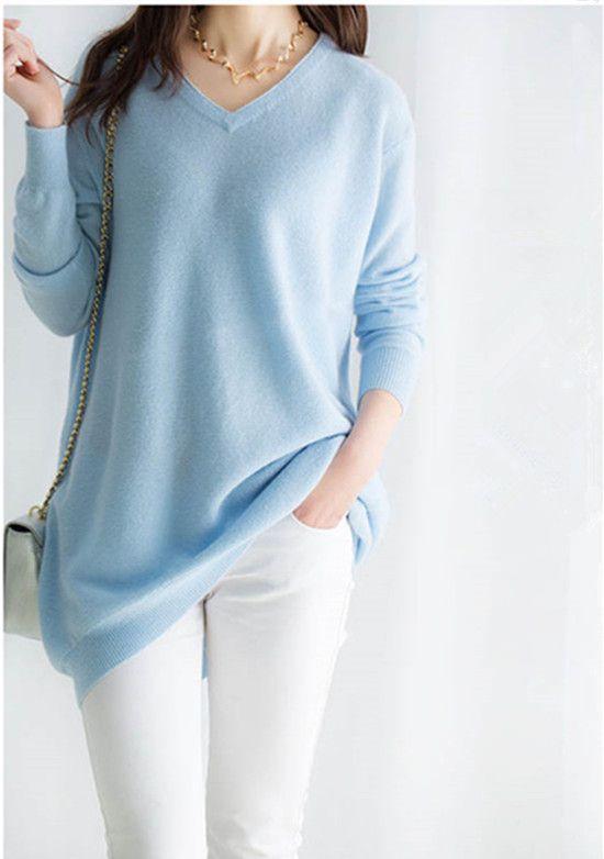 100%goat cashmere women's fashion long pullover sweater dress V-neck sky blue 7color XS-2XL wholesale retail