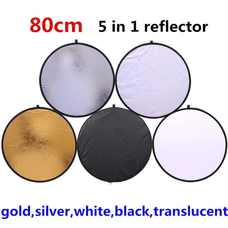 CY 80 cm 5 en 1 or argent blanc noir translucide nouveau Portable pliable lumière ronde photographie/Photo réflecteur pour Studio
