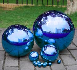 1 шт. 200 мм нержавеющая полый стальной шар зеркальная полированная синяя блестящая сфера для видов орнамента и украшения
