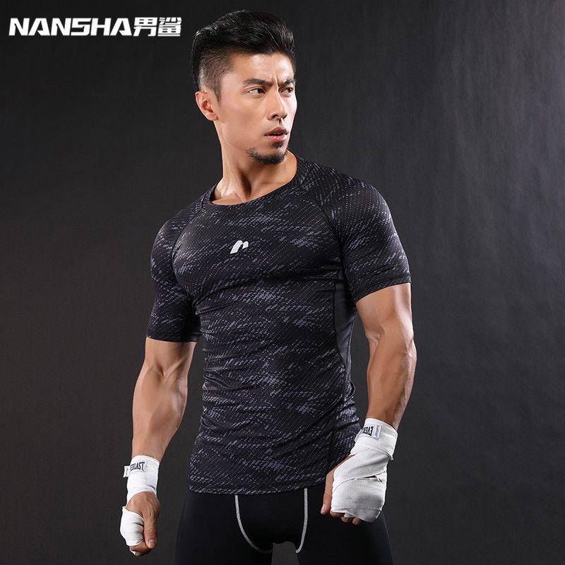 NANSHA marque-vêtements gymnases Compression T-Shirt entraînement T-Shirt Fitness Slim collants chemises décontractées séchage rapide respirant