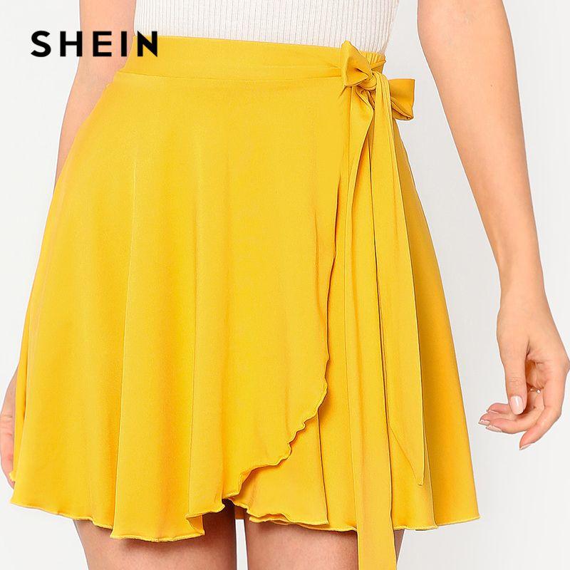 SHEIN 2018 Women's Summer Solid Yellow Skirts Elastic Waist Self Belted Overlap Skirt <font><b>Elegant</b></font> A Line Mid Waist Preppy Mini Skirt