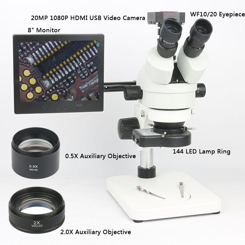 Soldering PCB Repair Tool Set 20MP 1080P HDMI Microscope Camera+3.5~90X Simul-focal Trinocular Stereo Microscope Continuous Zoom