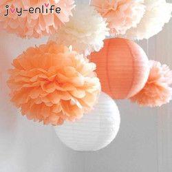 JOY-ENLIFE De Mariage Décoration 5 pcs Pom Poms 20 cm Papier de soie Fleurs Artificielles Balle Bébé Shower Party Artisanat D'anniversaire Fournitures