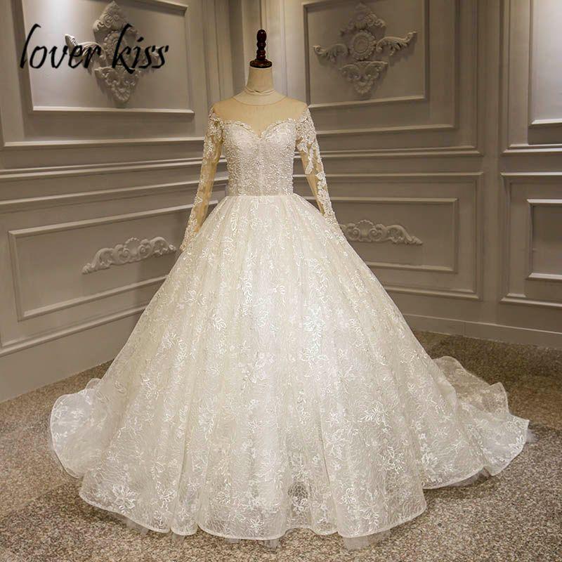 Liebhaber Kuss Vestido De Noiva Renda Wunderschöne Spitze Mieder Hochzeit Kleid Langarm Perlen Perle Braut Kleider Nach Maß Brautkleid