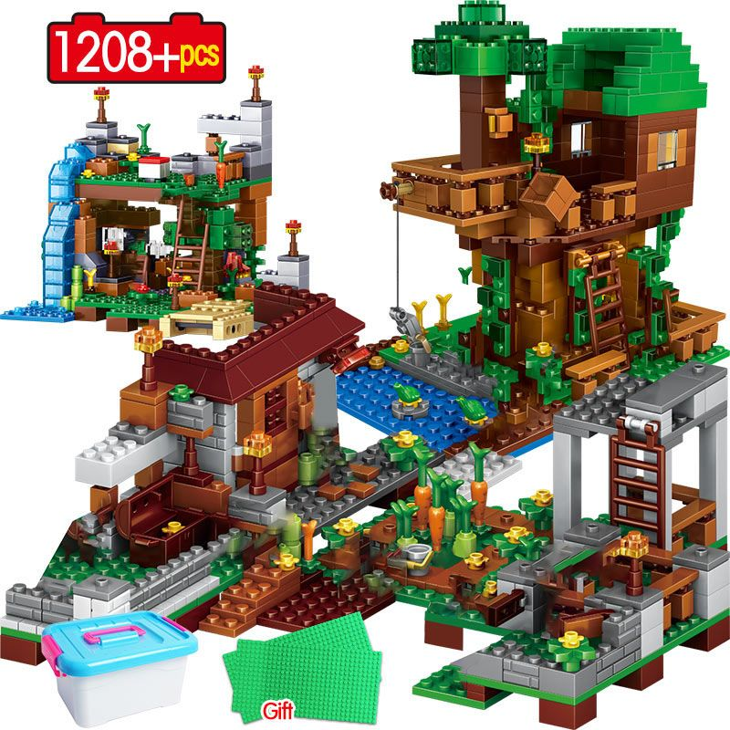 1208PCS Building Blocks legoingly My World Village Warhorse City Tree House Waterfall Bricks Educational Kids Toys