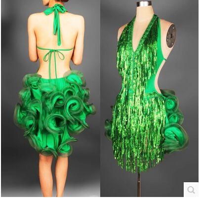 latin dance dress green professional costume for women fringe samba costume colorful womens ballroom competition dresses tassels