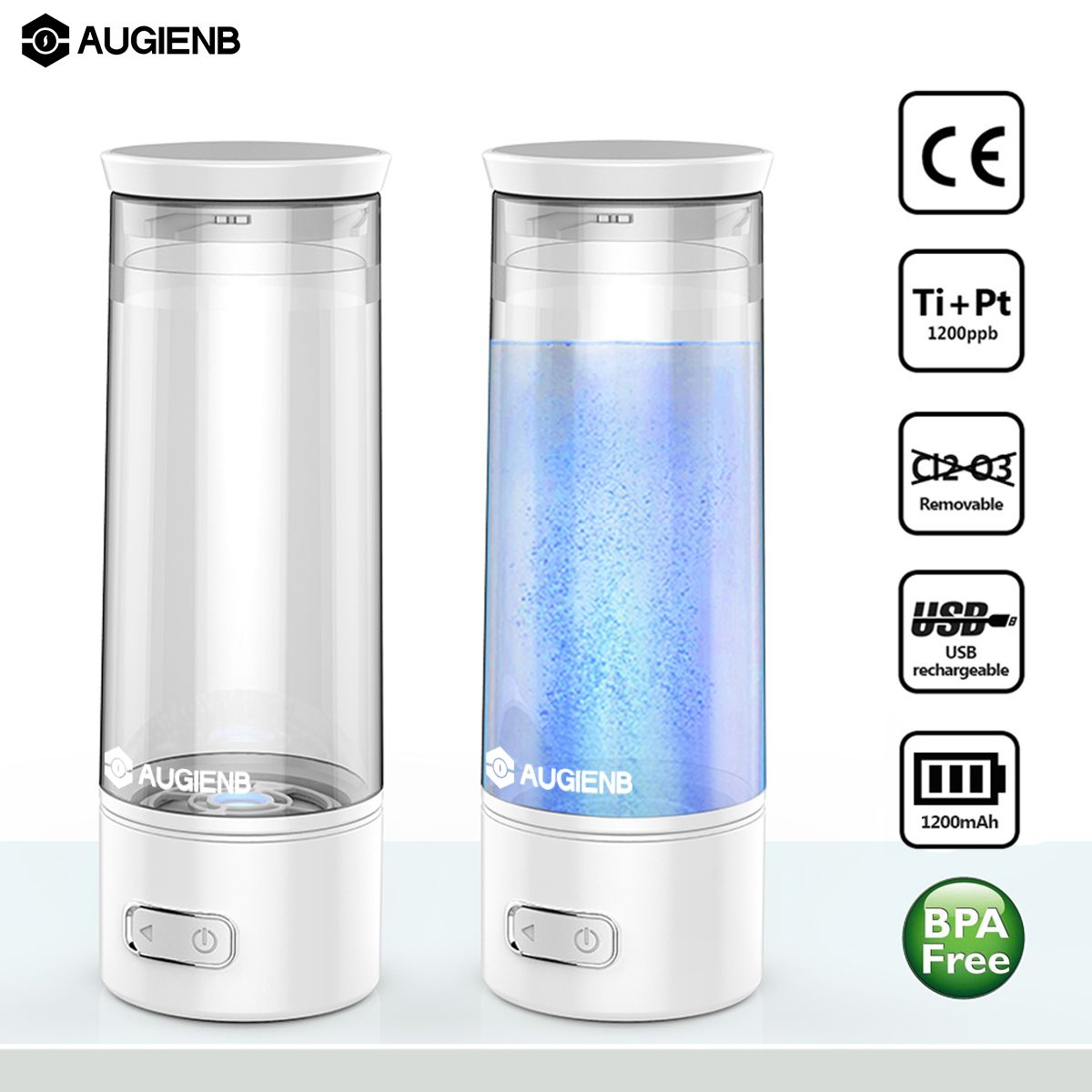 Augienb USB Rechargeable Anti Aging Portable Hydrogen Rich Water Bottle Ionizer Healthy Electrolyte Negative Ion Generator