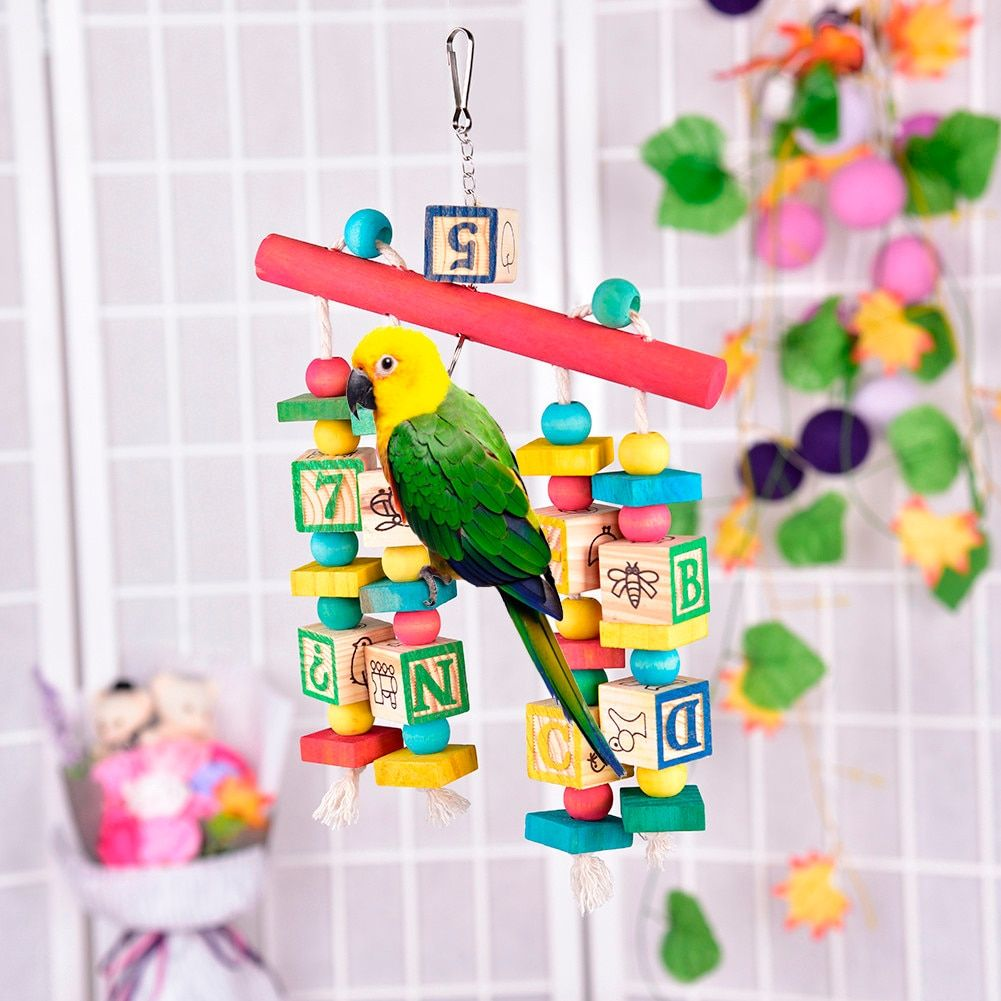 New Arrival Colorful Parrot Toys Large Wood Bird Parrots Pet Letters PatternToy Swing Climbing Pets Accessories Toy Random Color