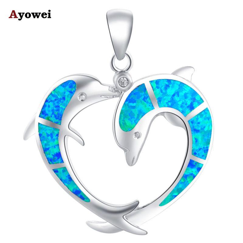 Bijoux d'été mignon Dauphins style Bleu Opale de Feu Argent Nacklace Pendentifs pour femmes Mode bijoux OP508A