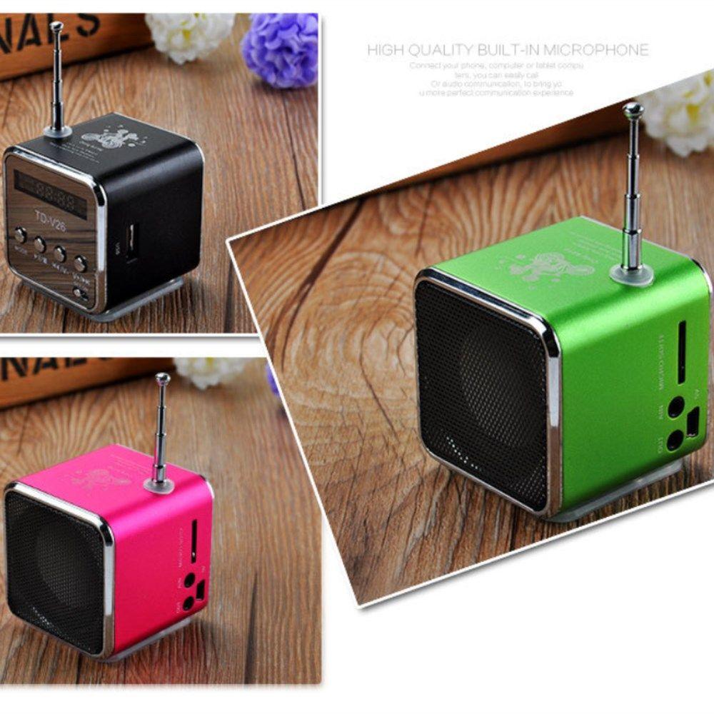 TD-V26 Mini Speaker Portable Digital LCD Sound Micro SD/TF FM Radio Speaker Music play Stereo Loudspeaker for Smart Laptop Phone
